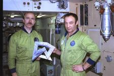 Cosmonauts Gennadi Manakov and Alexander Polischuk training with the Cosmic Dancer