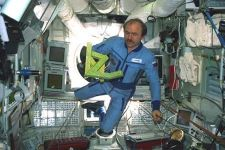 Cosmonaut Alexander Polischuk dancing with  the Cosmic Dancer